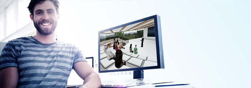 Teilnehmer am PC im WBS LearnSpace 3D