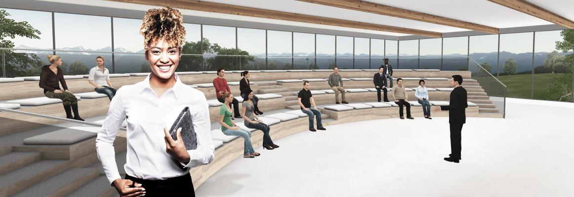 Online-Weiterbildung im WBS LearnSpace 3D.